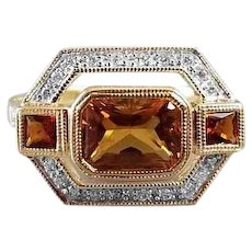 Modern estate 14k two tone yellow and white gold 1.32 ct citrine and .50 ct diamond statement ring, cocktail ring, size 8, Art Deco