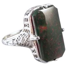 Vintage early Art Deco 1920s 14k white gold elongated basket weave filigree bloodstone statement ring, size 7-1/4, antique ring, heliotrope