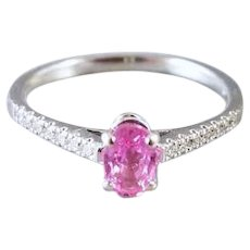 Modern estate 18k white gold natural pink sapphire and diamond engagement ring, size 8, pretty in pink, stacking ring, promise ring