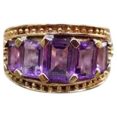Modern estate 10k gold purple amethyst wide band statement ring, cocktail ring, size 6, Etruscan Revival bead work