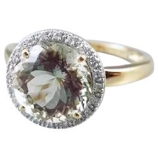 Modern estate 14k gold 3.35 carat green amethyst and .20 carat diamond halo ring, size 9, cocktail ring, white gold bezel