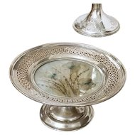 Art Deco 1915 sterling silver Morpho butterfly moth under glass footed compote, trinket tray, candle, votive, candy dish, nut dish, jewelry tray
