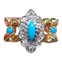 Modern estate 14k marquise navette cabochon cut Persian blue turquoise and diamond halo ring, size 5-1/2