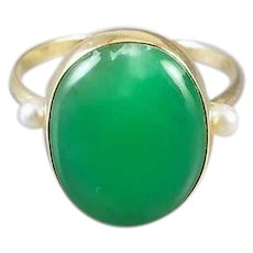 Vintage estate mid century 14k gold green jadeite jade cabochon with seed pearls statement ring, signed Edwin A. Inkley, size 11.5