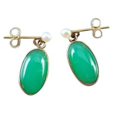 Vintage estate mid century 14k gold green jadeite jade cabochon with seed pearls pierced earrings, made by Edwin A. Inkley