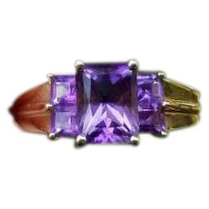 Modern estate 14k gold purple 1.55 carat amethyst five stone princess cut wide band statement ring, cocktail ring, size 9