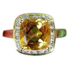 Modern estate 14k gold 2.87 carat citrine and .20 carat square cushion cut diamond halo ring, size 8, cocktail ring, white gold bezel