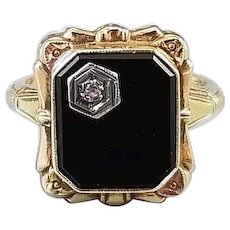 Vintage Art Deco 10k tri color gold black onyx and rose cut diamond ring, maker signed Copley, size 5-1/2
