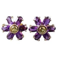 Modern estate 14k gold amethyst and peridot halo pierced earrings