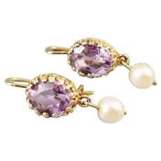 Vintage estate 14k gold Rose De France 2 carat tw amethyst and pearl pierced dangle drop earrings, locking kidney wires