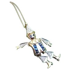 Adorable modern estate 14k two tone white and yellow gold sapphire and diamond articulated movable arms and legs clown pendant necklace