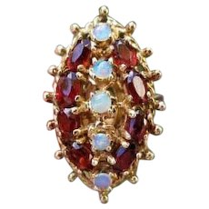 Modern estate 14k gold garnet and opal statement cocktail navette ring, size 6, MASSIVE