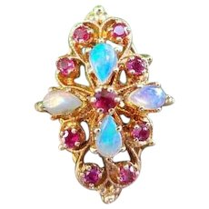 Modern estate 14k gold opal ruby statement cocktail navette ring, size 6-1/2