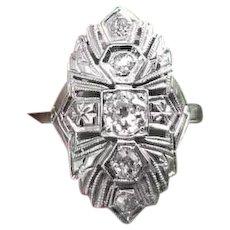 Art Deco five European cut .34ct diamond 14k white gold filigree ring, size 4-3/4, bridal, wedding, vintage ring, engagement ring
