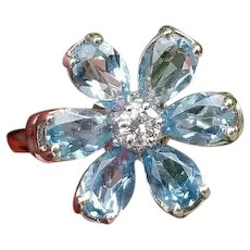 Vintage 14K white gold pear cut 1.80 carat total weight blue aquamarine and diamond flower halo statement ring, cocktail ring, size 6-3/4