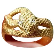 Vintage 18k gold diamond textured snake ring, 1972, unisex, size 9-1/2, English London Assay Office maker marked, 8.2 grams
