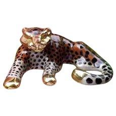 Modern estate 14k gold enamel slide enhancer pendant necklace, spotted big cat, wild cat, leopard, cheetah, jaguar, panther, slider
