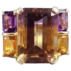 Modern estate 14k gold 9.85 carat total weight ametrine citrine amethyst quartz statement cocktail ring, size 6
