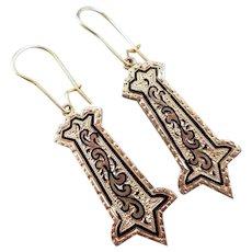 Antique Victorian 14k gold Taille d'epargne black enamel drop earrings, pierced kidney wires