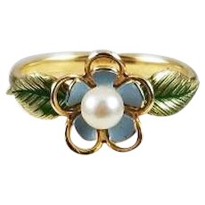 Antique Art Nouveau 14k gold genuine cultured pearl Krementz blue green enamel forget me not flower halo ring, size 6, in celluloid ring box