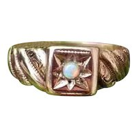 Antique Victorian 10k rose gold opal carved band ring, size 6-1/2, signed JR Wood
