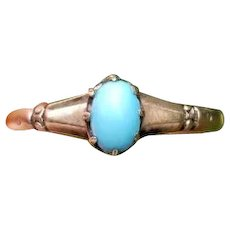 Antique Victorian 14k rose gold, pink gold, Persian blue turquoise cabochon solitaire ring, size 7-3/4, White Wile & Warner WWW