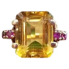 Vintage Art Deco Retro Moderne 14k gold 5 carat golden yellow citrine and ruby cocktail ring, size 7