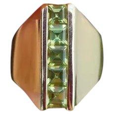 Modern estate 14k gold channel set square cut green peridot elongated statement ring, size 6