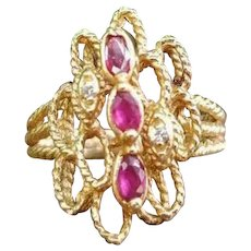 Modern estate 14k gold marquise shaped ruby and diamond twisted wire work rope statement ring, navette ring, cocktail ring, size 7