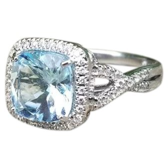 Modern estate 14K white gold 2.60 carat square cushion cut aquamarine and fifty-four diamond cocktail statement ring, size 7