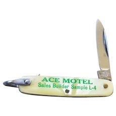 Vintage tiny miniature faux pearl Latama Italian made pocket knife fob with bail, advertising, Ace Motel