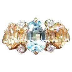 Modern estate 14K gold 1.18 ct aquamarine, 1.00 ct golden topaz and diamond ring, size 6-1/2