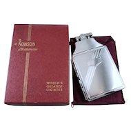 Cigarette case lighter Ronson chrome vintage Art Deco unused, new old stock, nos, tobacciana, smoking, collectibles, man cave, TEC 63