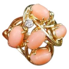 Vintage estate mid century 14k gold peach coral and diamond dome bombe cluster statement cocktail ring, size 6, signed Maui Divers of Hawaii