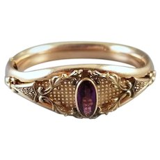 Very ornate antique Victorian gold filled purple amethyst glass crystal wide cuff bracelet, signed Bates & Bacon