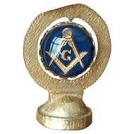 Vintage rotating dash magnet mid century Masonic brass glass enamel car dashboard ornament spinner magnet, dash board, magnetic, automobile