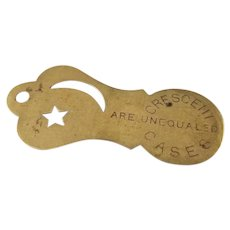 Antique Edwardian brass Crescent Watch Case opener watch fob, charm, pendant, advertising, advertisement, Lancaster, PA