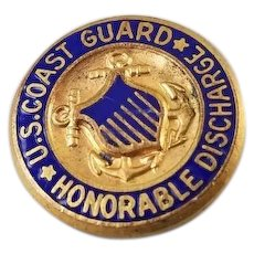 Vintage WW2 gilt on brass enamel US Coast Guard Honorable Discharge screw back pin, Metalarts Co, Rochester, NY