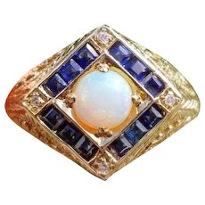 Modern estate 14k gold filigree blue sapphire opal and diamond halo ring, size 6