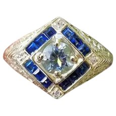 Modern estate 14k gold filigree blue sapphire aquamarine and diamond halo ring, size 8