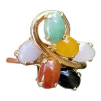 Vintage mid century estate 14k gold asymmetrical multi color jadeite jade statement cocktail ring, size 6