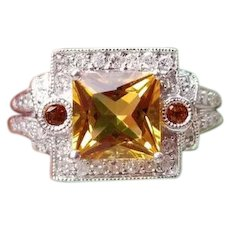 Modern estate 14k white gold square princess cut golden citrine quartz, orange hessonite garnet and 46 diamond halo cocktail ring, size 8