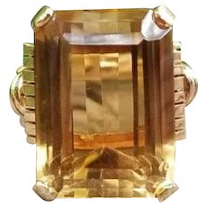 Vintage Art Deco Retro Moderne 18k two tone rose yellow gold 14.25 carat citrine quartz statement ring, cocktail ring, dinner ring, size 7