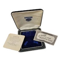 Vintage Art Deco navy blue leatherette and velvet Kum A Part cuff link display box, cufflinks, studs, stud set, Baer and Wilde Company