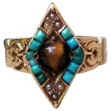 Antique Victorian 14k rose gold turquoise seed pearl and tiger eye quartz navette marquise statement ring, size 7, circa 1890