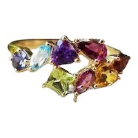 Modern estate 14K gold fancy cuts rainbow gem stone cocktail statement band ring, size 8-1/4, bypass ring