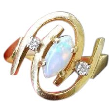 Modern estate 14k gold opal diamond bypass ring, size 6, cocktail ring, statement ring, birthstone ring, signed Helm & Hahn Co.