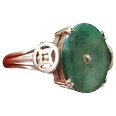 Modern estate 14k gold olive green nephrite jade good luck, good fortune statement ring, size 7