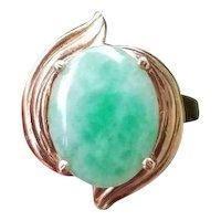 Modern estate 14k gold green jadeite jade statement ring, size 6-3/4, cocktail ring