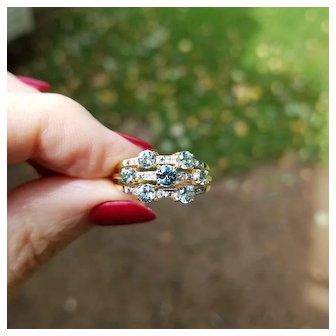 Modern estate 14K gold three band blue zircon and diamond harem ring, statement ring, stacking ring, cocktail ring, size 8-1/4